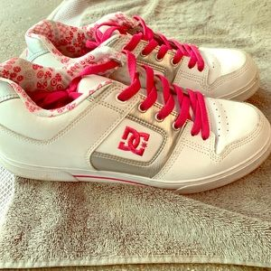 White and Pink DC women's Sneakers!